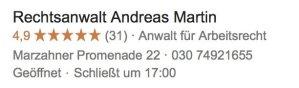 Google Bewertungen für Rechtsanwalt Andreas Martin in Marzahn