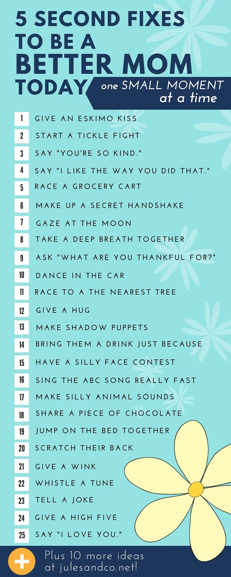 Good parenting is in the smaller moments of our day. Here are some great tips from JulesandCo.net