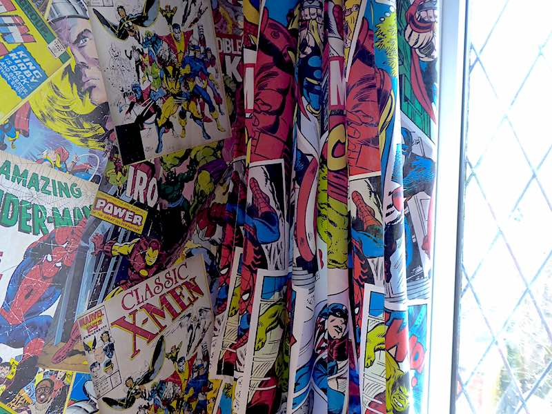 superheroes wallpaper and curtains