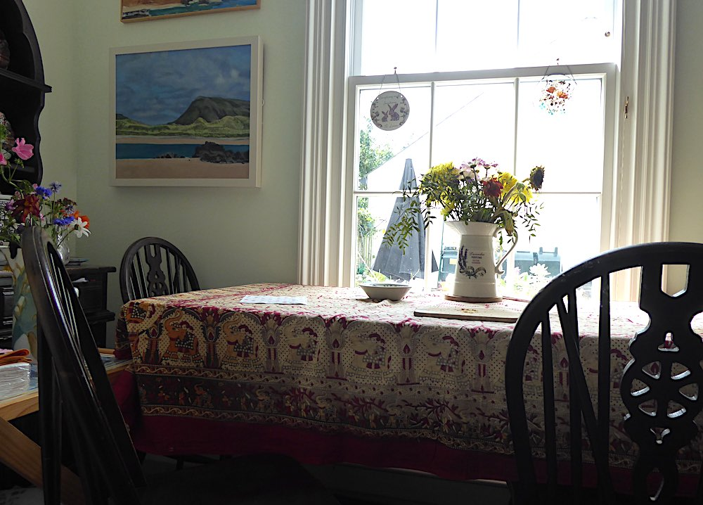 flowers, table, window, tablecloth, pattern paint