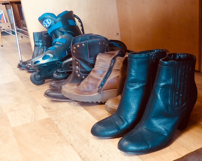 boots and shoes for sale in charity shop