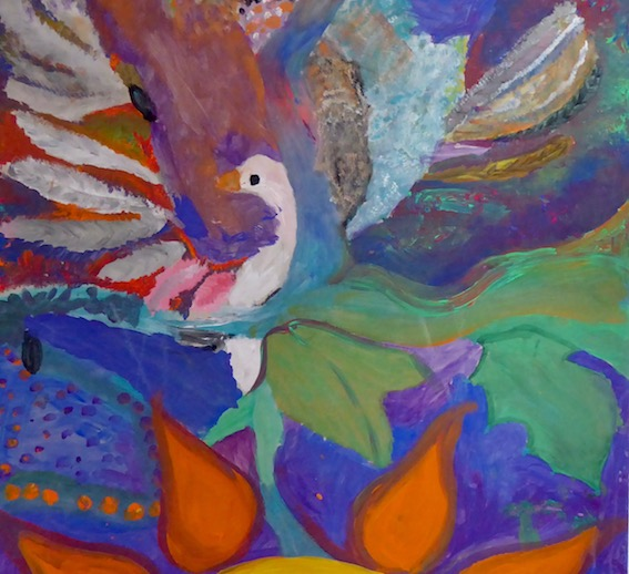 colourful painting of bird