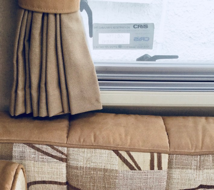 caravan curtain and seating