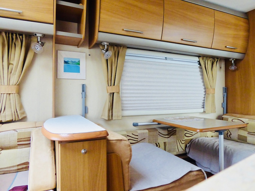 caravan interior seating and window