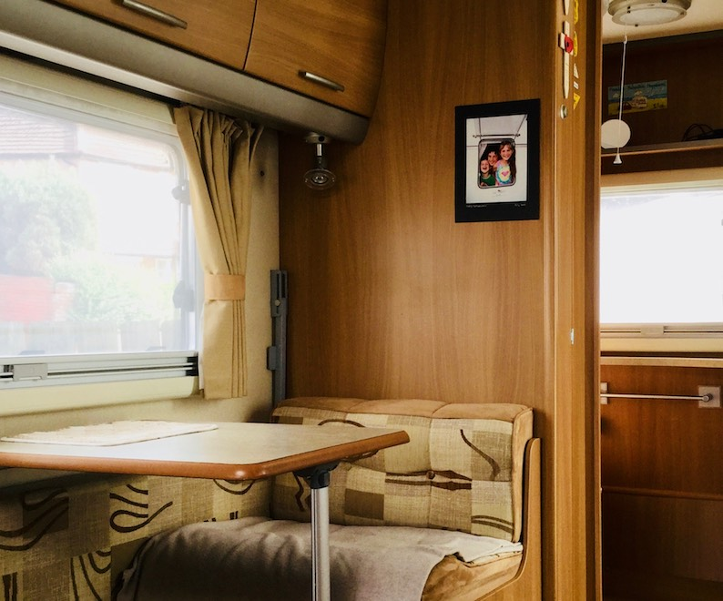 caravan table and seating