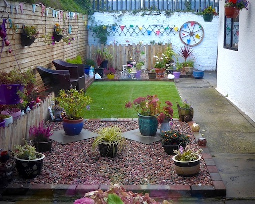 garden with plant pots