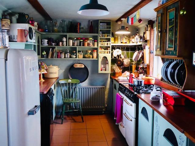 colourful kitchen with smeg fridge