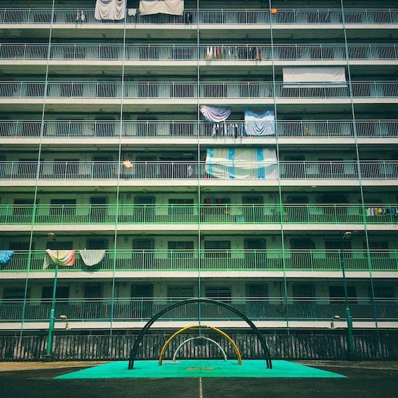 green balconies in housing block