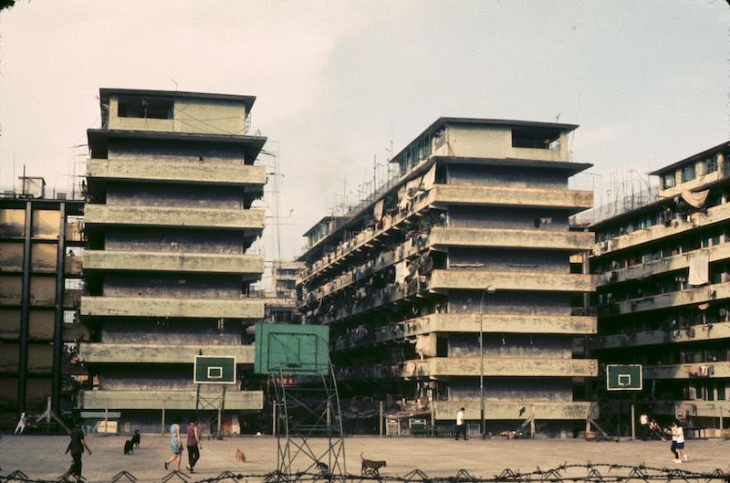 old housing blocks density