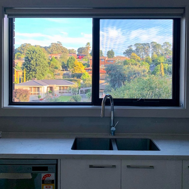 view of Melbourne suburb from kitchen window