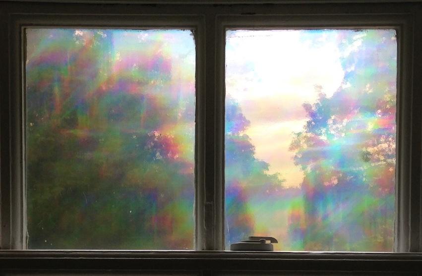 rainbow window with emotional feeling