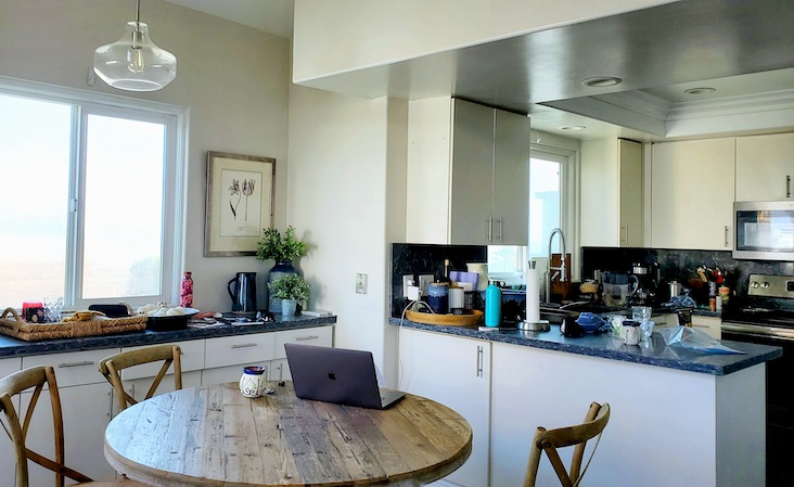 kitchen and dining table of beach house