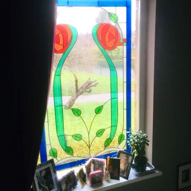 Stained glass window - photos of mum