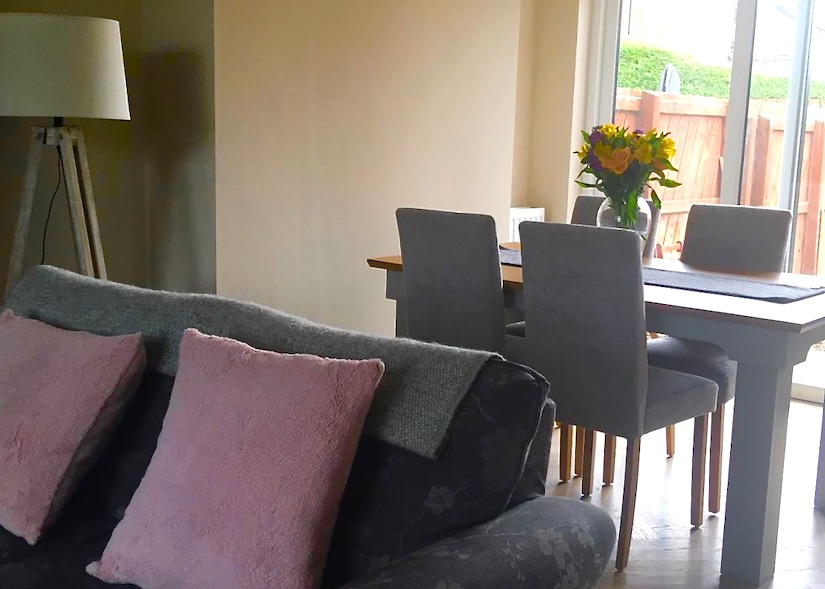 dining area and sofa in doctor's house