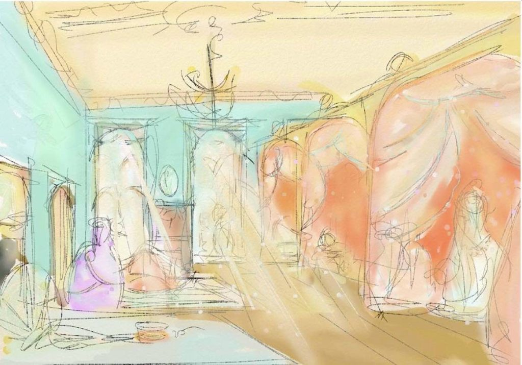 Creative Sketch of Victorian Ladies dress shop for  TV series