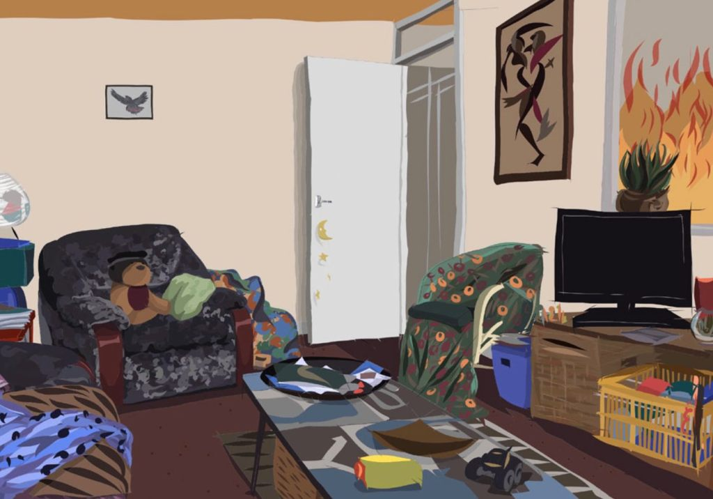 Drawing of flat with door chairs and TV