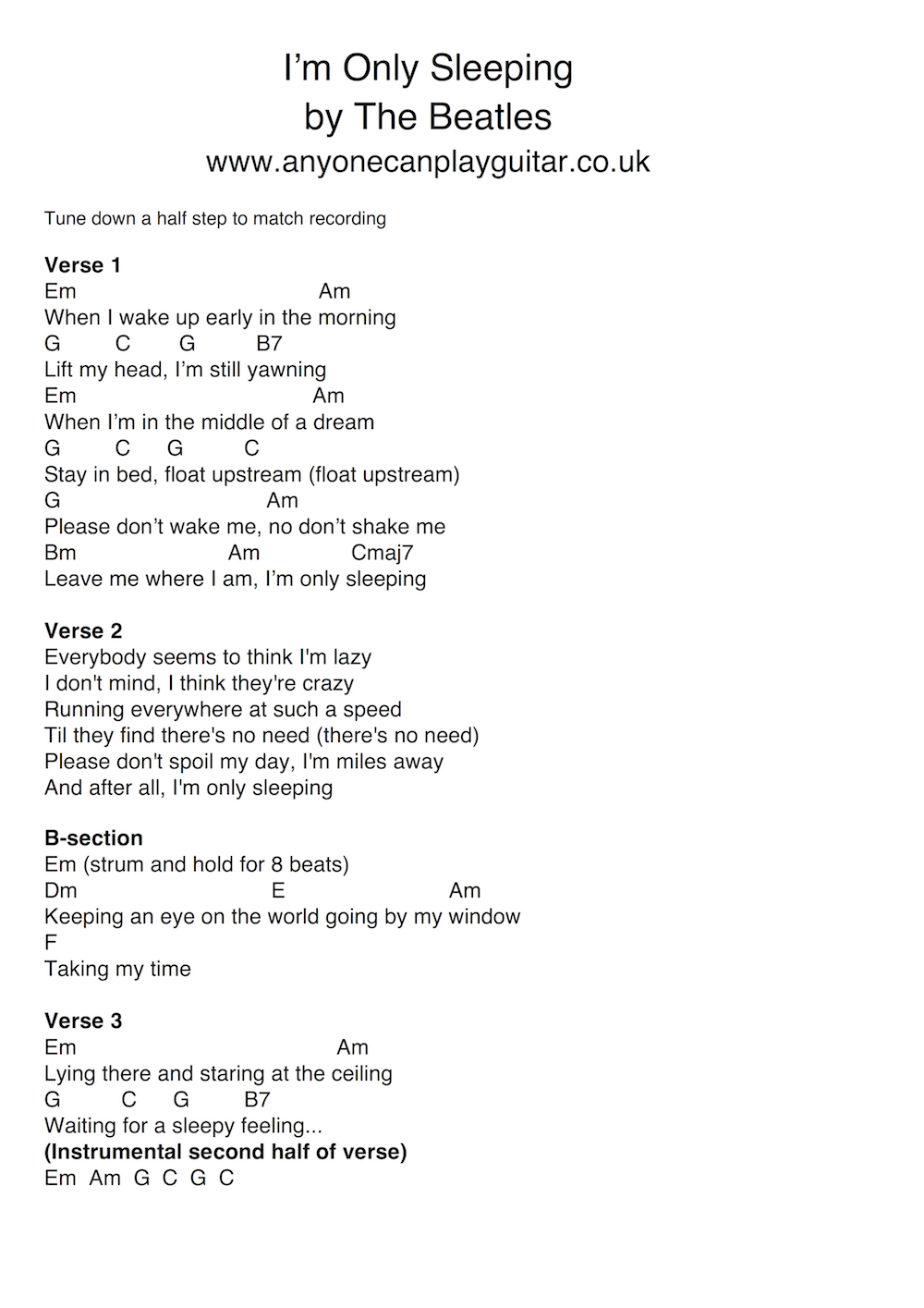 27 song im only sleeping anyone can play guitar listen to the original and use the chordlyric chart download here to piece together the whole song once you can play the basic parts hexwebz Image collections