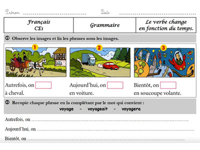 Ce1 Les Changements Du Verbe Dans La Phrase La Classe Des Gnomes
