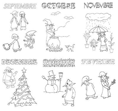 Les mois de l'année pour le cahier de vie