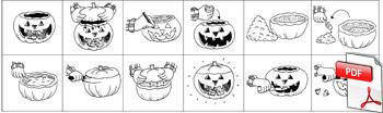 Images séquentielles de découpage d'une citrouille d'Halloween