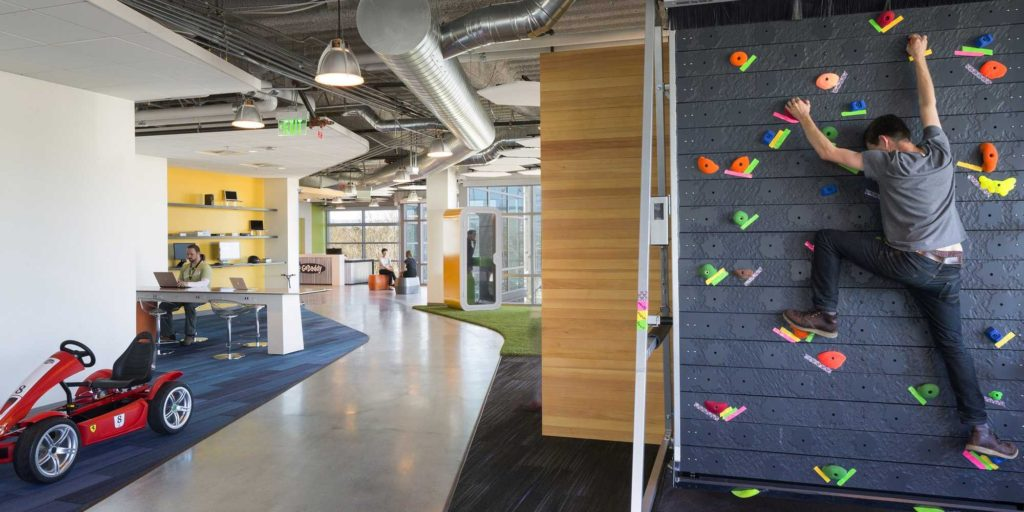 GoDaddy web hosting have rock climbing and go carting available to their employees.