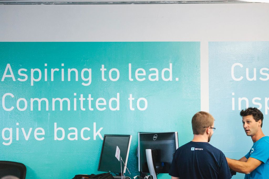 WP Engine quote in their offices.