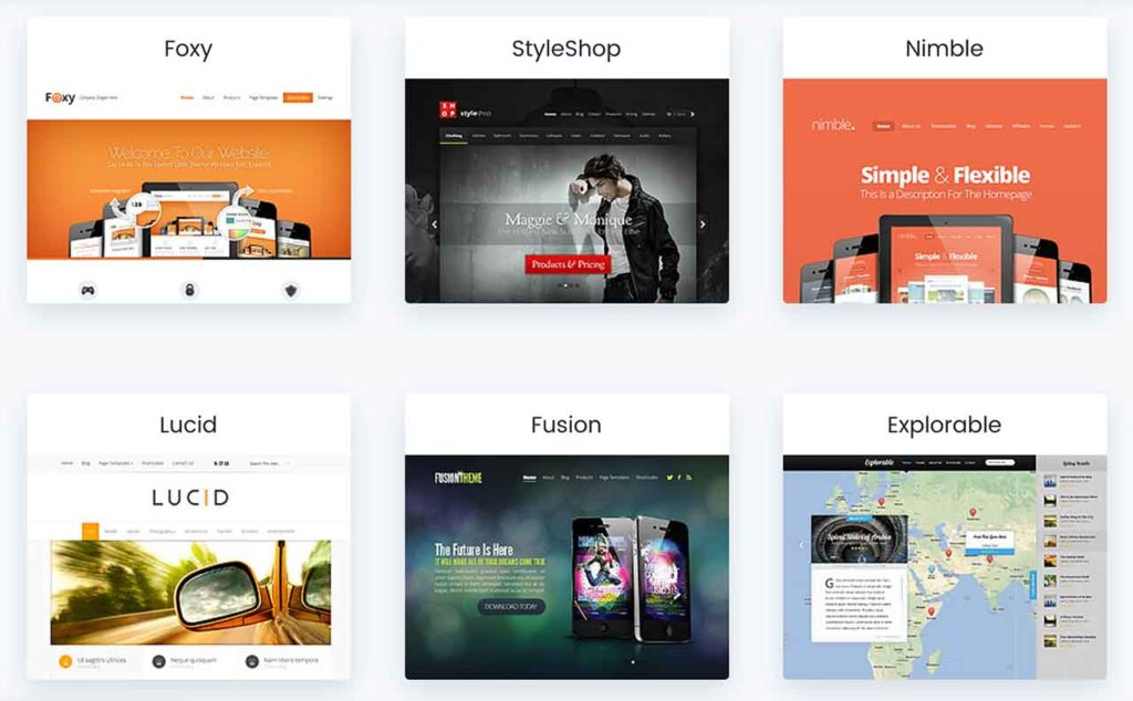 Elegant Themes Examples of Foxy, StyleShop, Nimble, Lucid, Fusion, Explorable