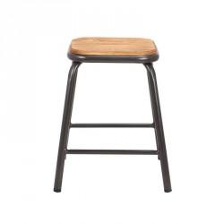 tabouret bas industriel en metal et assise bois matis