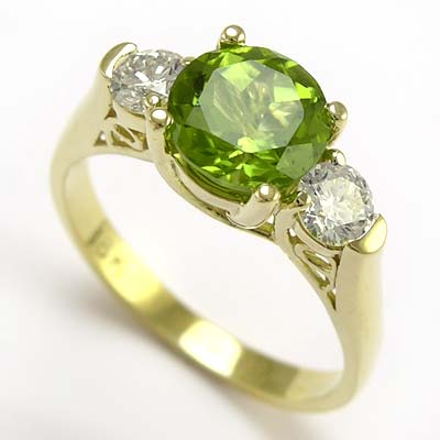 Anzor Jewelry 18k Gold Peridot Diamond Anniversary Ring