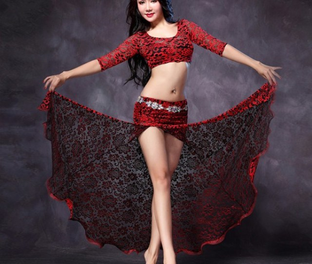 Black Red Hot Pink Fuchsia Patchwork Lace Side Split Fashion Sexy Womens Ladies Indian Egypt Dancing Belly Dance Dresses Outfits