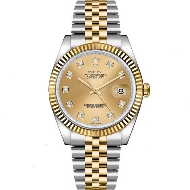Replica Rolex Datejust 36 Champagne Diamonds Dial 116233