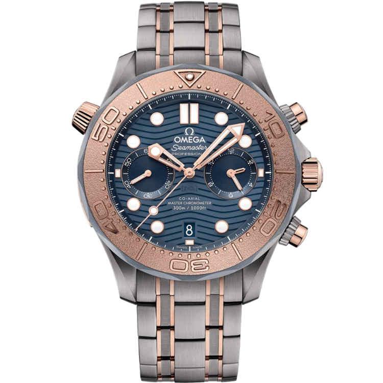 Replica Omega Seamaster Diver 300M Chronograph Sedna Gold Titanium Tantalum 210.60.44.51.03.001