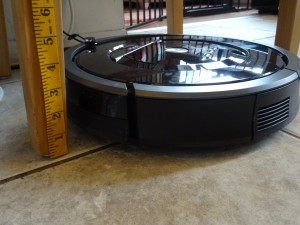 The Roomba is the perfect height for navigating under furniture and beds