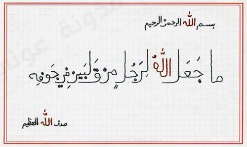 ما جعل الله لرجل من قلبين في جوفه مدونة عونياتـ