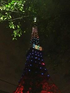 オリンピックカラーに輝く東京タワー