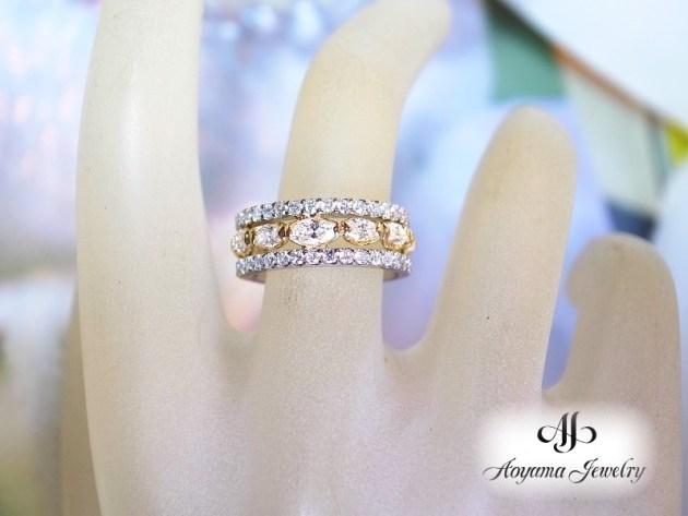 【着用イメージ】上下にダイヤモンドを挟んで少し華やかなリングに