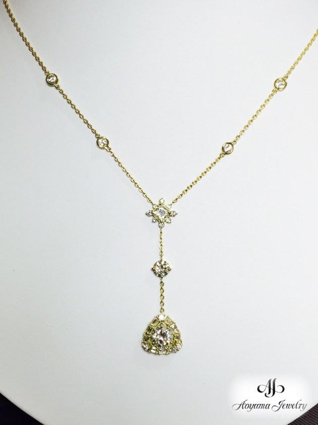 【リフォーム後】美しいYラインのダイヤモンドペンダント