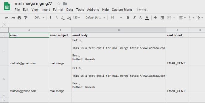 mail merge 2