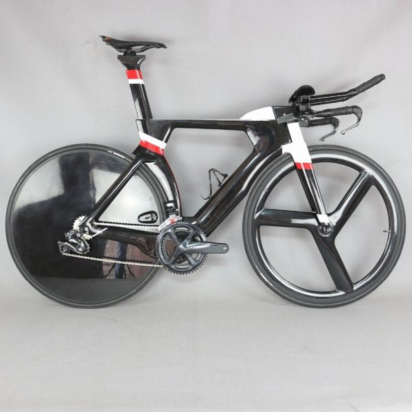 700C Complete Bike TT Bicycle Time Trial Triathlon Carbon Fiber Carbon Black Painting Frame with DI2 R8060 groupset 6