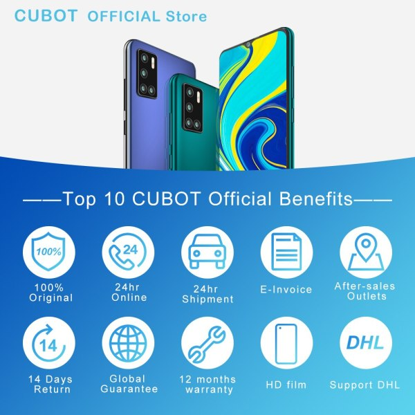 Cubot P40 אחורי Quad מצלמה 20MP Selfie Smartphone NFC 4GB 128GB 6.2 אינץ 4200mAh אנדרואיד 10 dual SIM כרטיס טלפון נייד 4G LTE 6