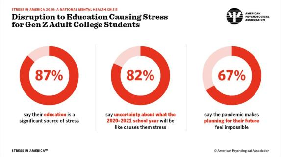 Disruptoin to education causing stress for GenZ adult college students