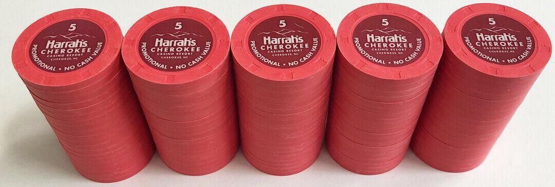 Harrahs Cherokee Casino Rack of $5 Chips