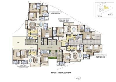 Aparna Elina gated community apartments in yashwantpur Wing B first floor plan