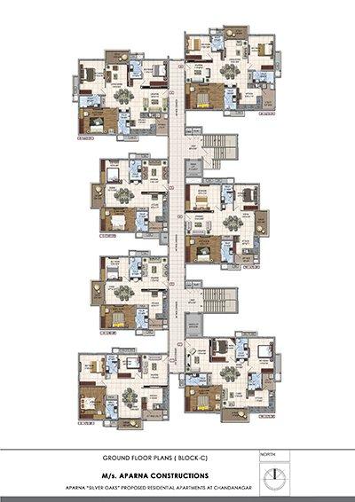 Aparna hillpark silver oaks Chandanagar apartments Ground floor Block C floor plan