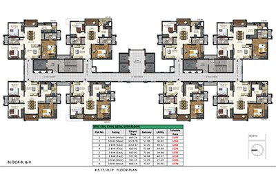4th 5th 17th 18th and 19th floor plans of Aparna sarovar zeniith nallagandla