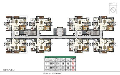 Floor plan of Aparna Sarovar Zenith 10th 11th and 12th floors 3bhk