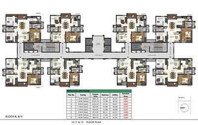 Floor plan of Aparna Sarovar Zenith 10th 11th and 12th floors 3bhk 2