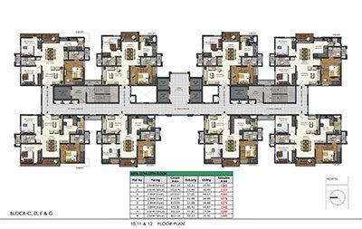 Floor plan of Aparna Sarovar Zenith 10th 11th and 12th floors 3bhk 3