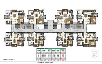 Floor plan of Aparna Sarovar Zenith 13th 14th and 15th floors 3bhk