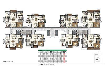 Floor plan of Aparna Sarovar Zenith 13th 14th and 15th floors 3bhk